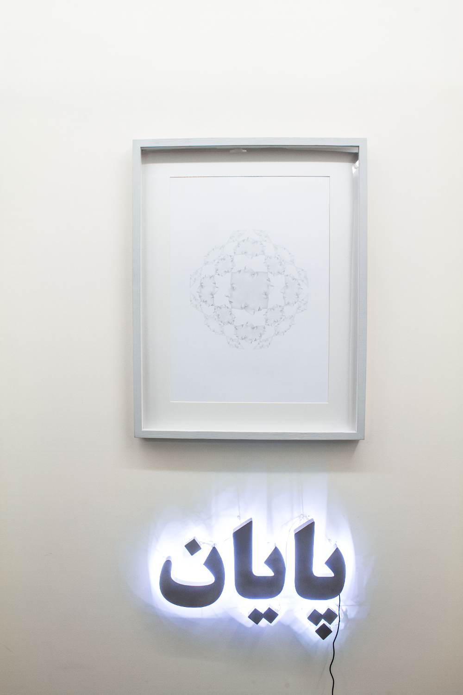 10-Sahar Safarian, The End, 2013,  Pencil On Cardboard & Aluminum with LED, 70 x 50 + 45 x 65  cm.