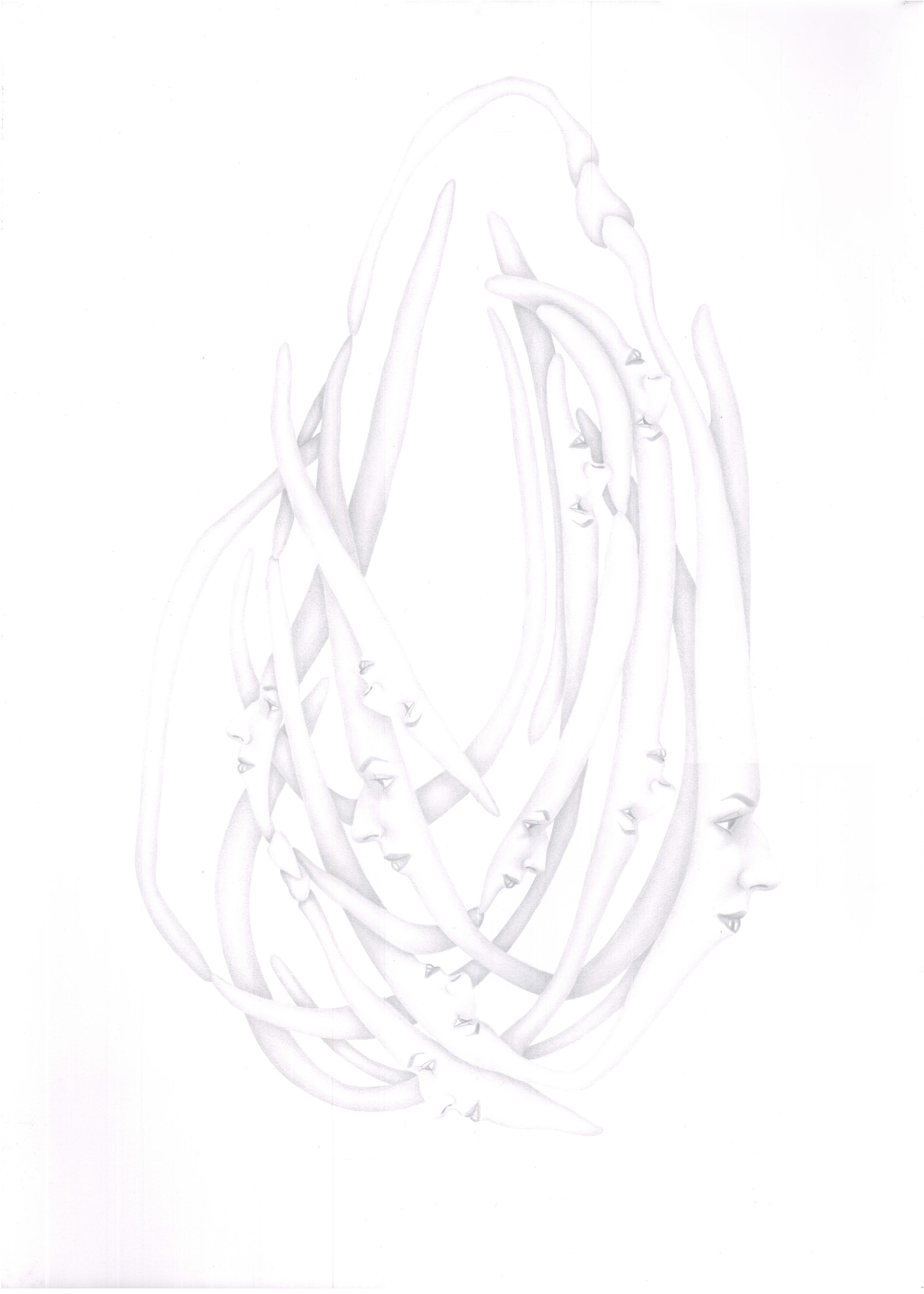 15-Sahar Safarian,  Sometimes No.1, 2013, Pencil On Cardboard, 70 x 50 cm.